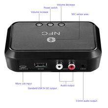 Nfc bluetooth receptor de áudio estéreo portátil sem fio bluetooth adaptador com 3.5mm/saída rca para o amplificador do orador do carro do telefone
