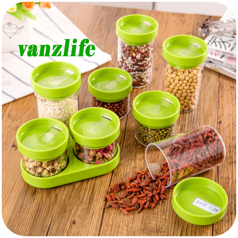 buy 8pcs a lot vanzlife kitchen storage container rotating plastic candy tank creative dry cereals storage bottles grain storage jar from