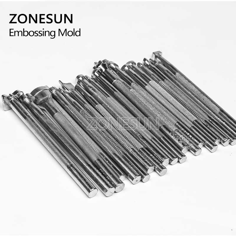 ZONESUN New 20pcs/lot Diy Leathercraft Leather Pattern Engrave Stamping Embossing Mold Leather Printing Beveling Tool Set