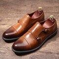 Мужские коричневые оксфорды; Формальные модельные туфли; Goodyear; ручная работа; натуральная кожа; ремешок-монах