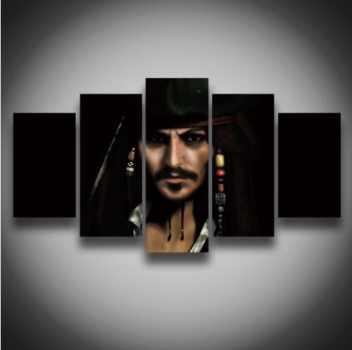 2017 новые картины без рамки Hd кино плакаты Пираты Лицо Картина на холсте 5 панелей Настенная картина украшение дома художественные фотографи