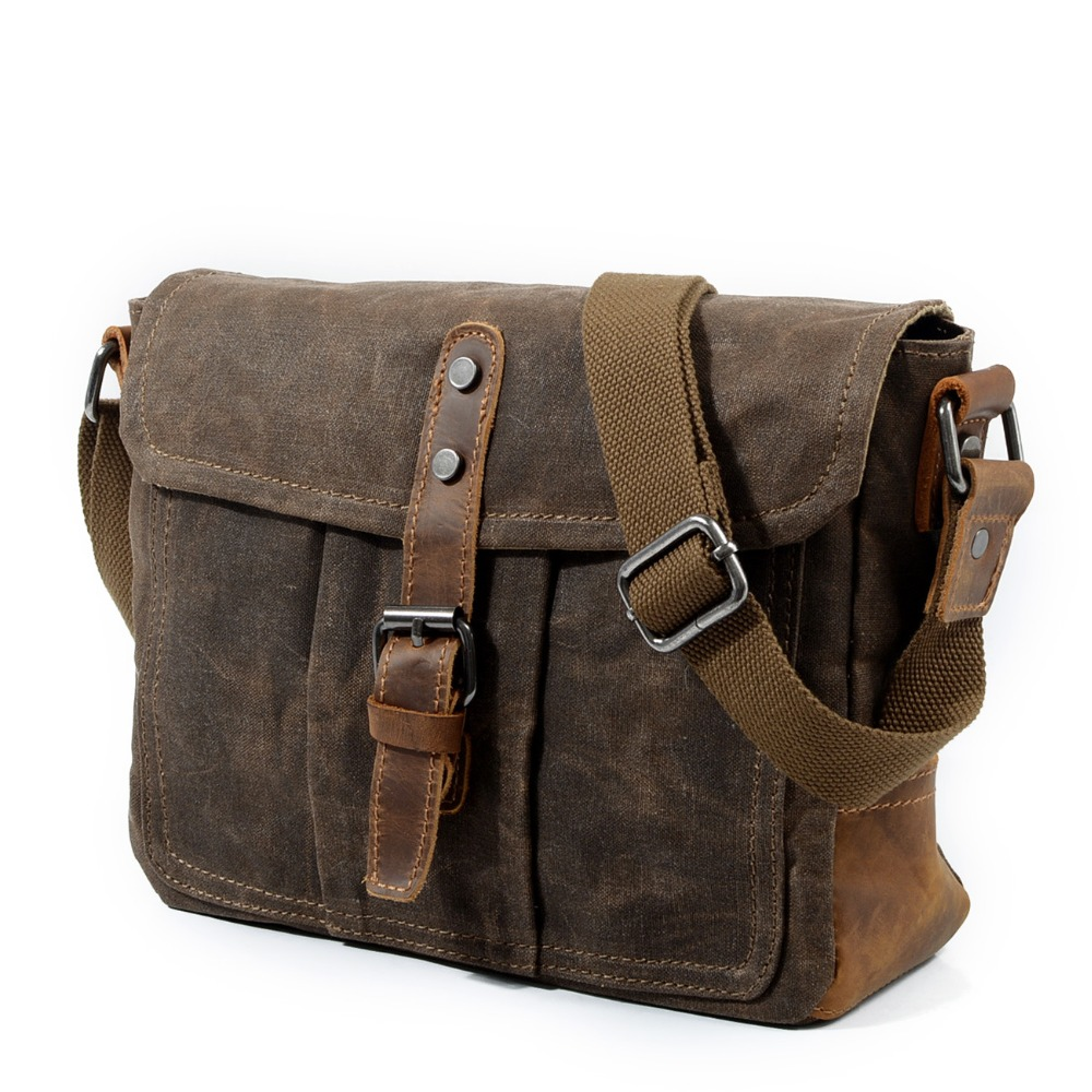 Men's Bag Messenger-Bag Canvas Cross-Section Waterproof Oil-Wax Retro Casual Simple New