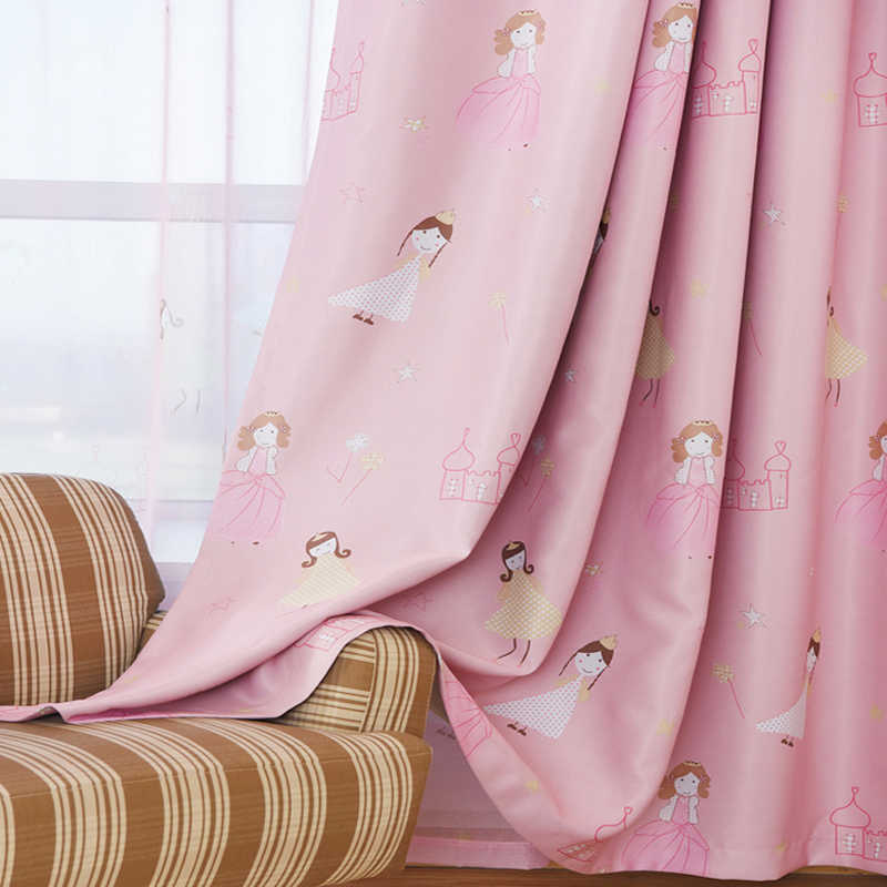 Insulated Cartoon Printed Blackout Curtains for Girls Bedroom Pink Sheer Voile Curtain Panels Ready Made Window Cortina WP1392