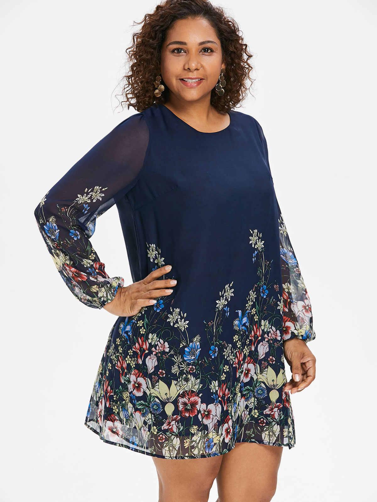 562300a0b9db1ac ... Wipalo темно-синее платье-туника с цветочной вышивкой большого размера  весна-лето элегантное ...