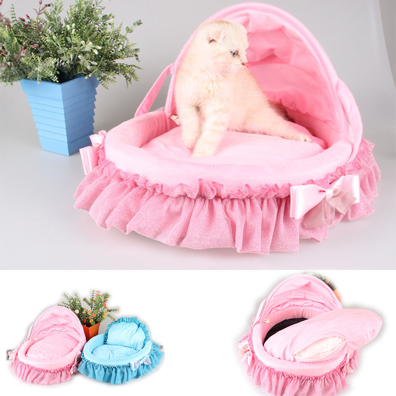 Cute Soft Lace Bow Cat Dog Pet Bed House  For ChihuahuaSoft Luxury Dog Puppy Princess Sofa Bed Kennel Small Dog Cushion Mat Nest