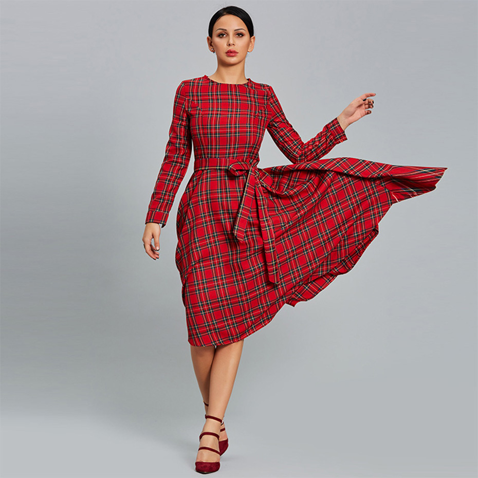 Young17 Vintage Dresses Women 2018 Red Long Sleeve Plaid Patchwork 3D Bowknot Elegant Back To School Dress Fall Retro Dress