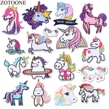 ZOTOONE Lovely Unicorn Parches Embroidered Iron On Patches For Girl Clothing DIY Eye Stripes Clothes Toy Stickers Badge Diy E