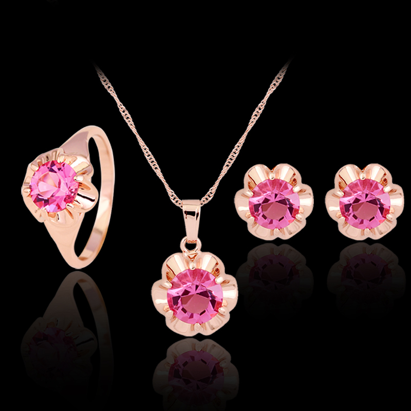 2017 Hot Rhinestone Jewelry Rose Gold Necklace Earrings Ring Sets