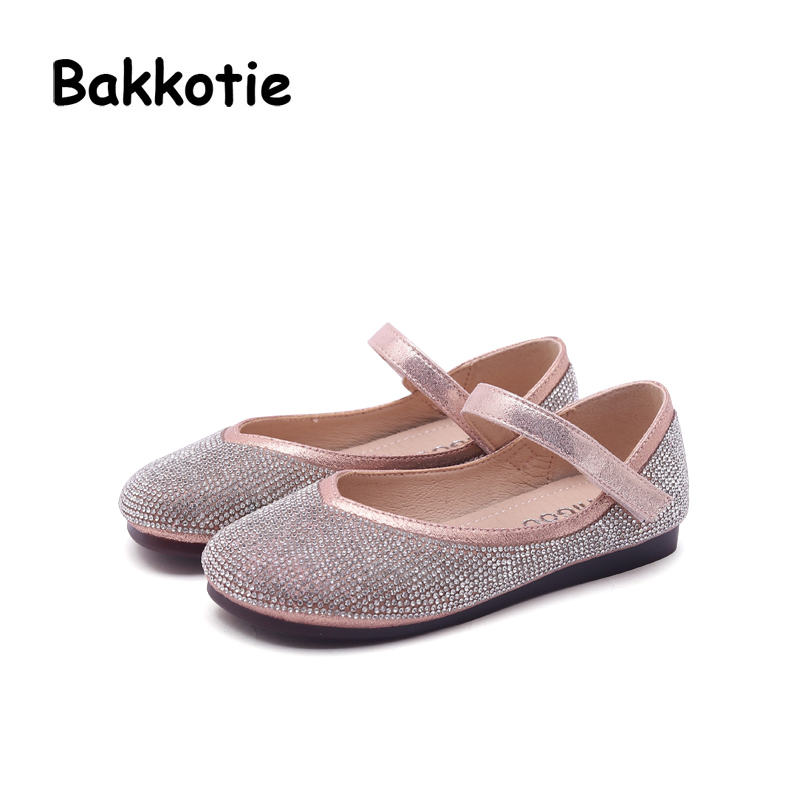 Bakkotie 2018 Autumn New Fashion Baby Girl Rhinestone Pu Leather Flats Children Princess Shoe Kid Brand Black Party Mary Jane