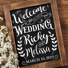 Welcome Sign Wall Vinyl Stickers Mural Custom Wedding Decoration or Anniversary Personalized Names Decor N101