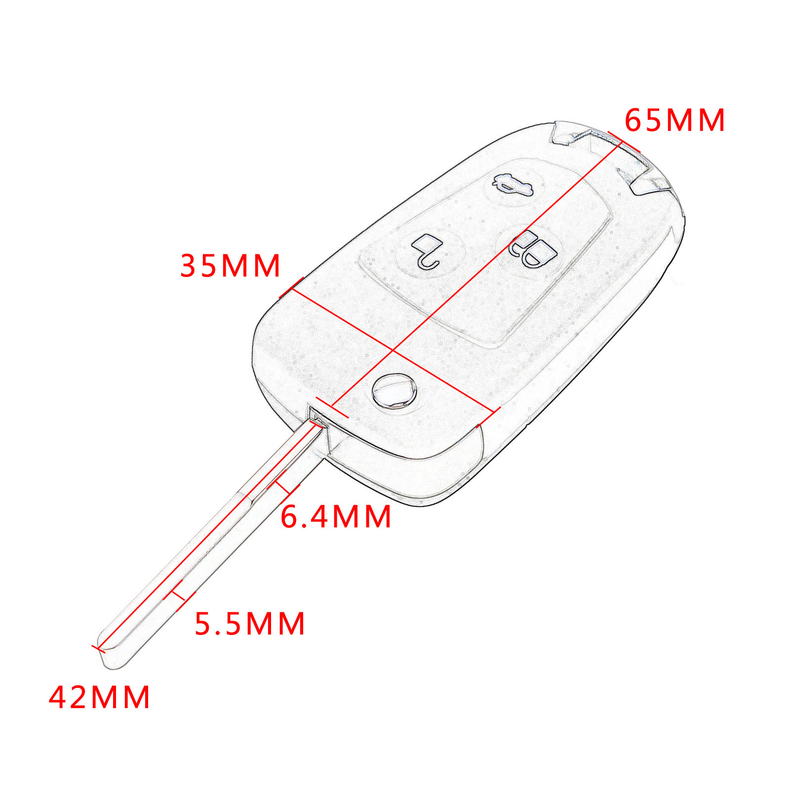3 Buttons Folding Flip Fob Car Remote Key Shell Case Uncut Blade For Ford Focus Suit Mondeo Festiva Fusion KA Auto Replacement in Car Key from Automobiles Motorcycles