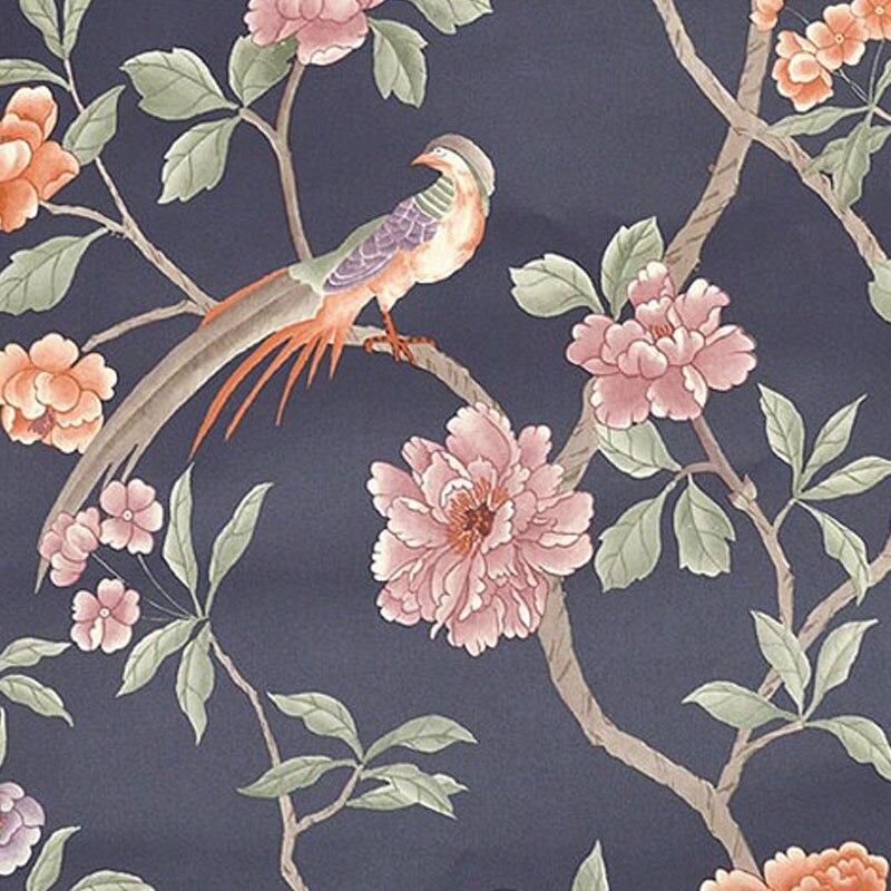 Papel De Parede 3D Paisagem Chinese Pastoral Bird Tree Flower 3D Embossed PVC Wallpaper Living Room