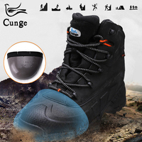 Man's Hiking Boots for Steel Toe Safety Shoes Men Protection Work Boots Waterproof Anti Collision Shoes with Iron for Hunting