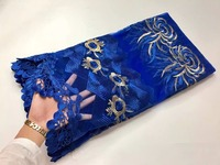 French Net Lace Fabric 2016 Latest african guipure lace fabric with embroidery mesh tulle water blue cord lace fabric. PG450