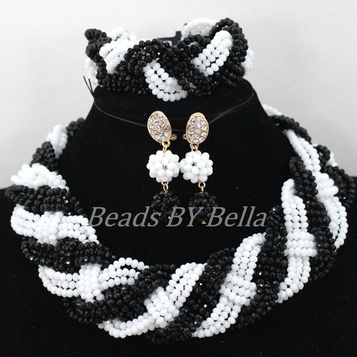 White Black Crystal Nigerian Fashion Beads Necklace African Wedding Jewelry Set Women Bridal Jewelry Sets Free Shipping ABK170White Black Crystal Nigerian Fashion Beads Necklace African Wedding Jewelry Set Women Bridal Jewelry Sets Free Shipping ABK170