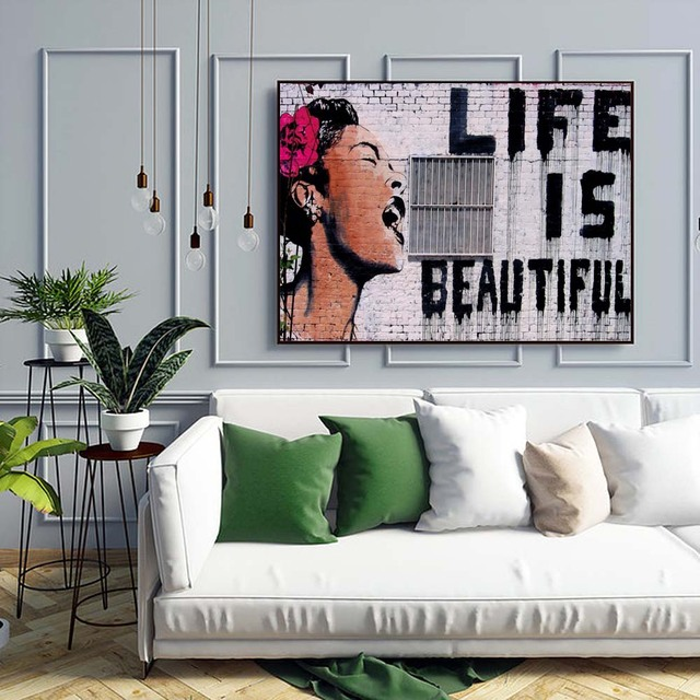 Banksy Life Is Beautiful Canvas Art Painting Posters And Prints