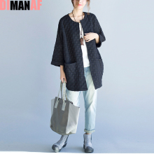 Plus Size Women Jacket Basic Solid Cotton Coat Spring O-Neck Polka Dot Female Vintage Cardigan Loose Elegant Casual Black Coat