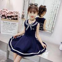 Летнее школьное платье в морском стиле для девочек от 3 до 13 лет платье принцессы без рукавов Одежда для детей милая Одежда с бантом