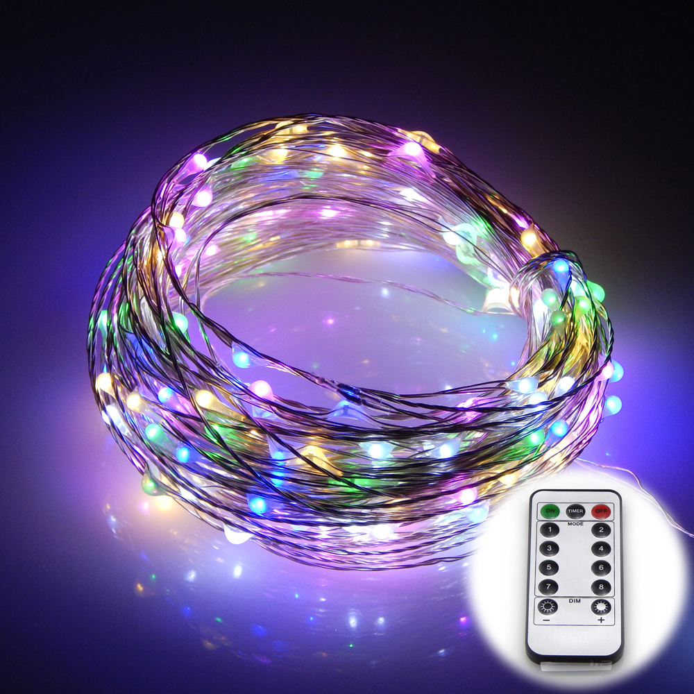 Vattentät 8 Modes Silver Wire Battery Operated 20M 200 LEDs LED Lights String Fairy lights Trådlös fjärrkontroll