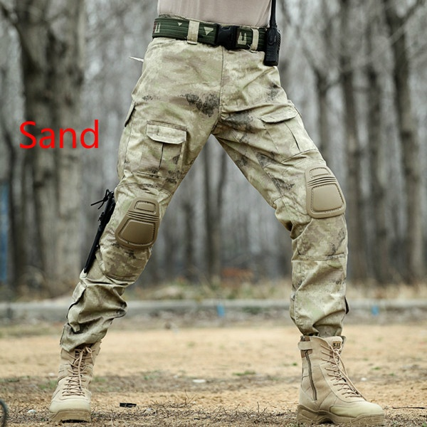 Mens Tactical Pants With Knee Pads Commandos Trousers Army Miliatry Camouflage Clothing Baggy Cargo Multi Pocket Combat Pants