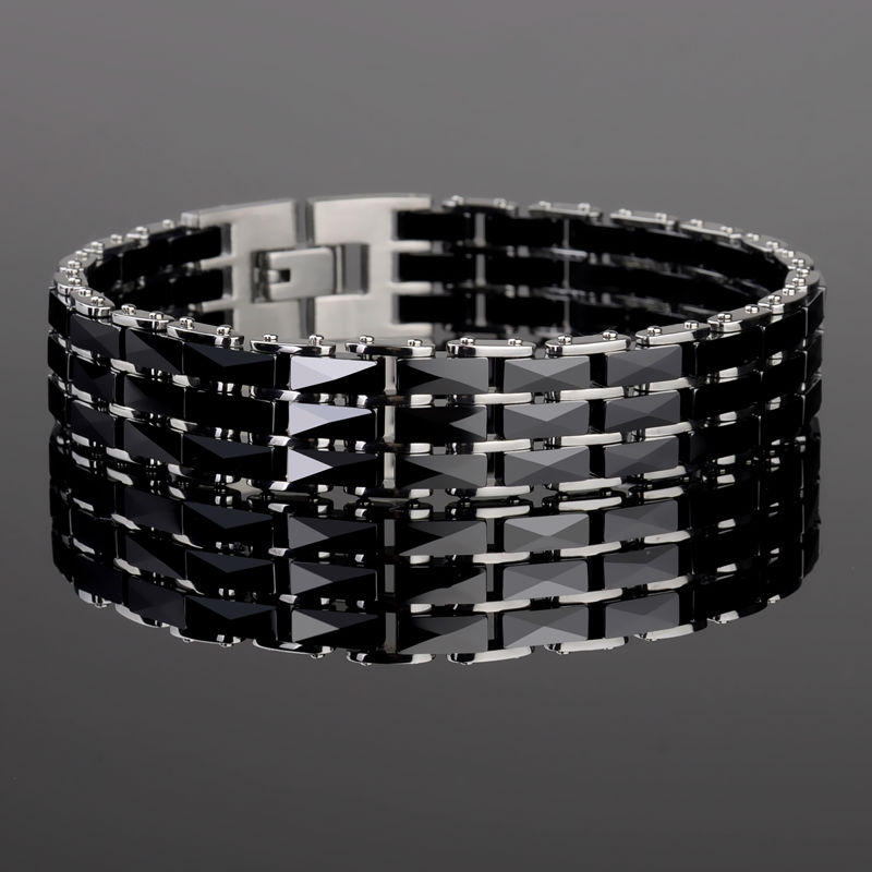 Fashion Couples' 316L Titanium Steel Bracelets Black Chain Links Ceramic Bracelets For Man 19.5CM Length Woman 16.5CM Length