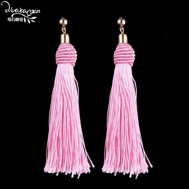 Dvacaman Brand Coffee Color Tassel Earrings Hot Sale Fashion Long Rope Chain Drop Earring Women Statement Jewelry Wholesale LL78