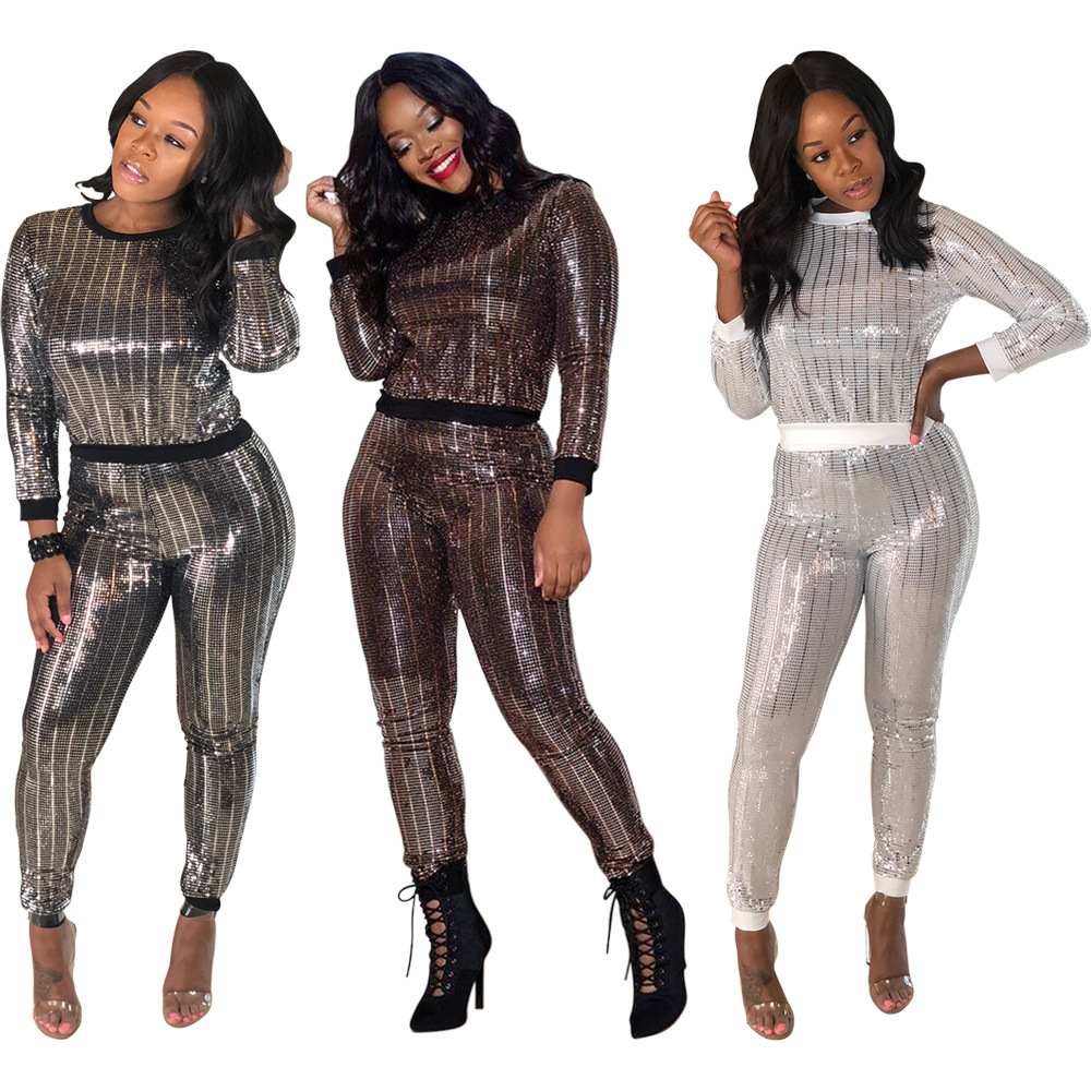 2 Piece Set Women Autumn Striped Sequin Sexy Club Outfits Long Sleeve Tops+Bodycon Pants Suits Casual Two Piece Matching Sets