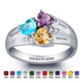 355fa991ca69 Anillo de la familia personalizado 4 piedra grabar 4 nombre anillos ...