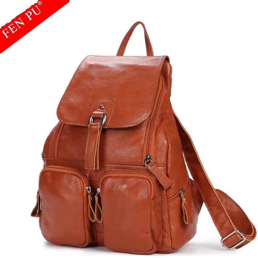 2017 Fashion Genuine Leather Men Backpack Women High Quality School Bag Female Travel Laptop For Teenagers Girls Male Backpack  цена и фото