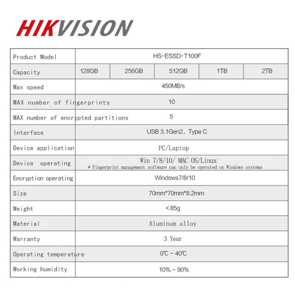 HIKVISION zewnętrzny dysk ssd 2tb 1tb 512gb 256gb ochrona przed szyfrowaniem linii papilarnych USB 3.1 type-c ssd жесткий диск externo 1t przenośny
