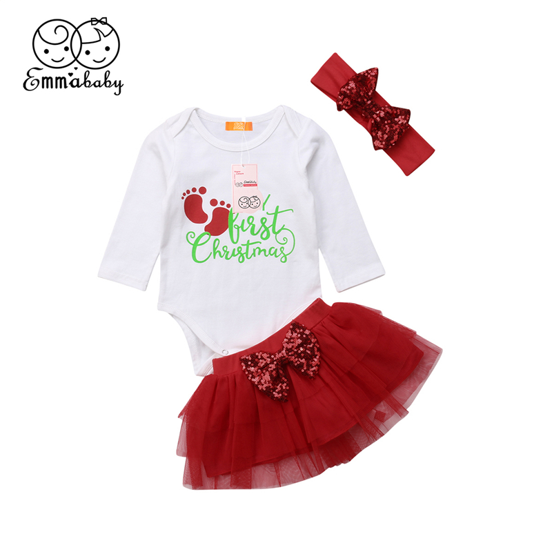 Newborn Baby Girl Clothes Set 3Pcs Kid Party My First Christmas Cotton Bodysuit Sequin Bowknot Tulle Tutu Skirt Headband Outfit ywhuansen 2018 new rainbow cotton skirt sequin embroidery baby girl skirt cute rabbit princess kid clothes tutu skirt tulle pink