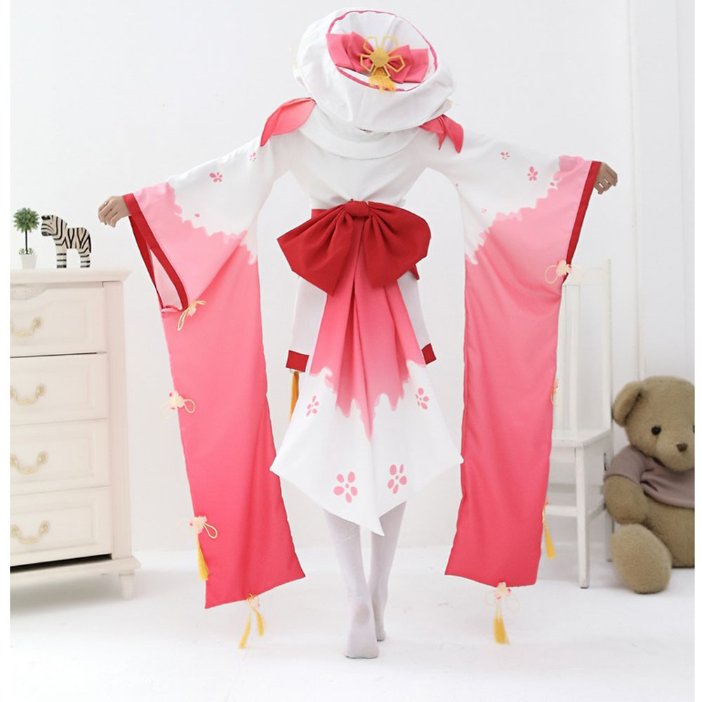 VEVEFHUANG  Women's Japanese Cartoon Anime Onmyoji Cosplay Costume The Peach Blossom Banshee Vantage Kimono Fancy Dress Uniform