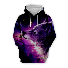 mens Galaxy space wolf 3d hoodies harajuku streetwear women animal printing sweatshirts autumn long sleeve zipper hooded coat