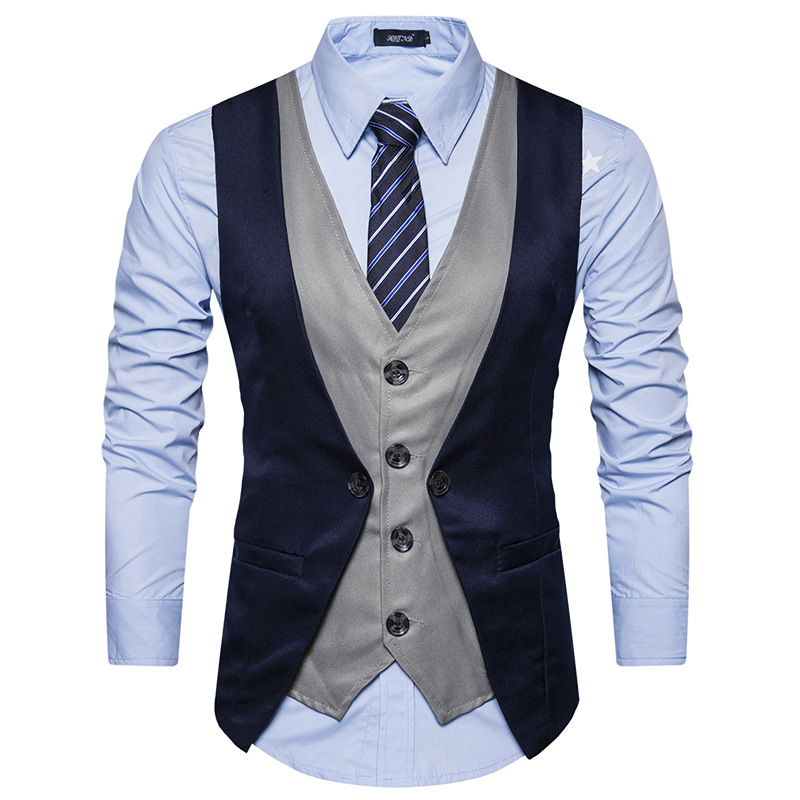 High Grade Men Vest 2018 Brand Fashion Fake Two Piece Patch Waistcoat Casual Slim Business Social Suit Vest Groom Plus Size Red