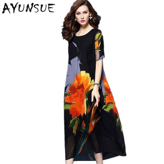 AYUNSUE Women Summer Dress 2018 Floral Chiffon Silk Beach Dress Elegant  Vestidos Mujer Maxi Dresses Long Robe Femme Boho FYY401 96944b20bf61