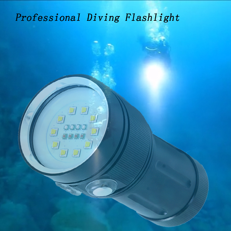 Z20 L2 LED High Quality Professional Diving Flashlight White Red UV Light LED Torch Underwater Video Lamp Diving Light lighting sport car style 2 led white light flashlight keychain w sound effect red 4 x lr41