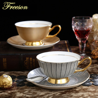 Noble Luxury Bone China Stripe Coffee Cups Mugs Ceramic Tea Cup And Saucer Set Advanced Porcelain