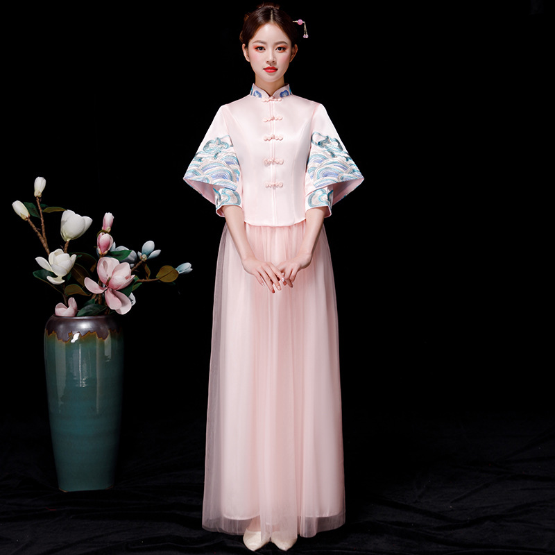 Bride Bridesmaid Chinese style Cheongsam Pink Wedding Qipao Vintage Oriental Asian beauty Dress Long Evening Gowns Women S XXL