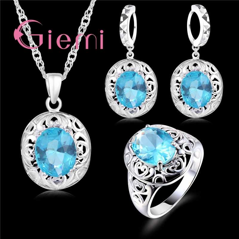 Top Quality Wedding Jewelry for Brides 925 Sterling Silver Blue CZ Zircon Earrings+ Ring+Necklace Bridal Jewelry Sets
