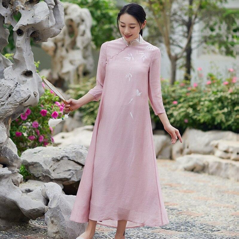Plaque De Rétro Femmes Robe Nouveau Vêtements Chinois Améliorée Littéraire Style Automne Bouton Hanfu Cheongsam Nationale Rose gRBqnv