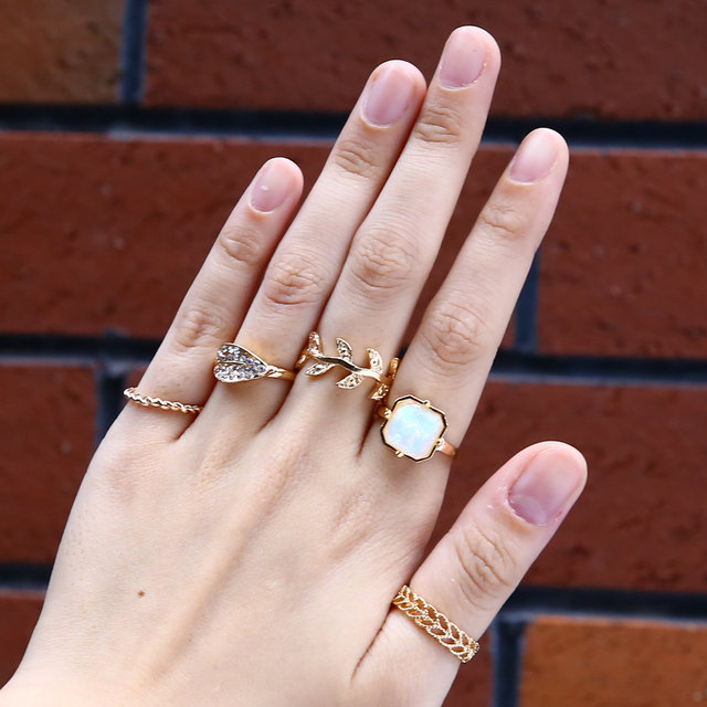 5pcs Set Midi Finger Ring Set Fashion Punk Antique Gold Knuckle