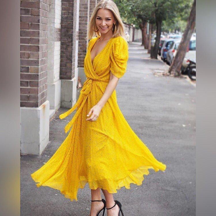 2019 New V neck yellow floral printed holiday dress chiffon beach long dress 190604MLD01