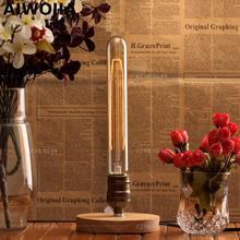 E27 Industrial Vintage Edison Wooden Base Socket Desk Light+ light bulb Table Reading Lamp  Tiffanylampe Table Lamps цена 2017