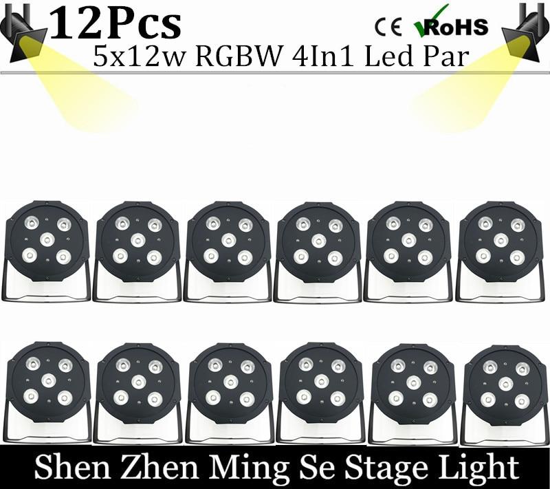 12units 12w led  lamp beads 5x12W led Par lights RGBW 4in1 flat par led dmx512 disco lights professional stage dj equipment