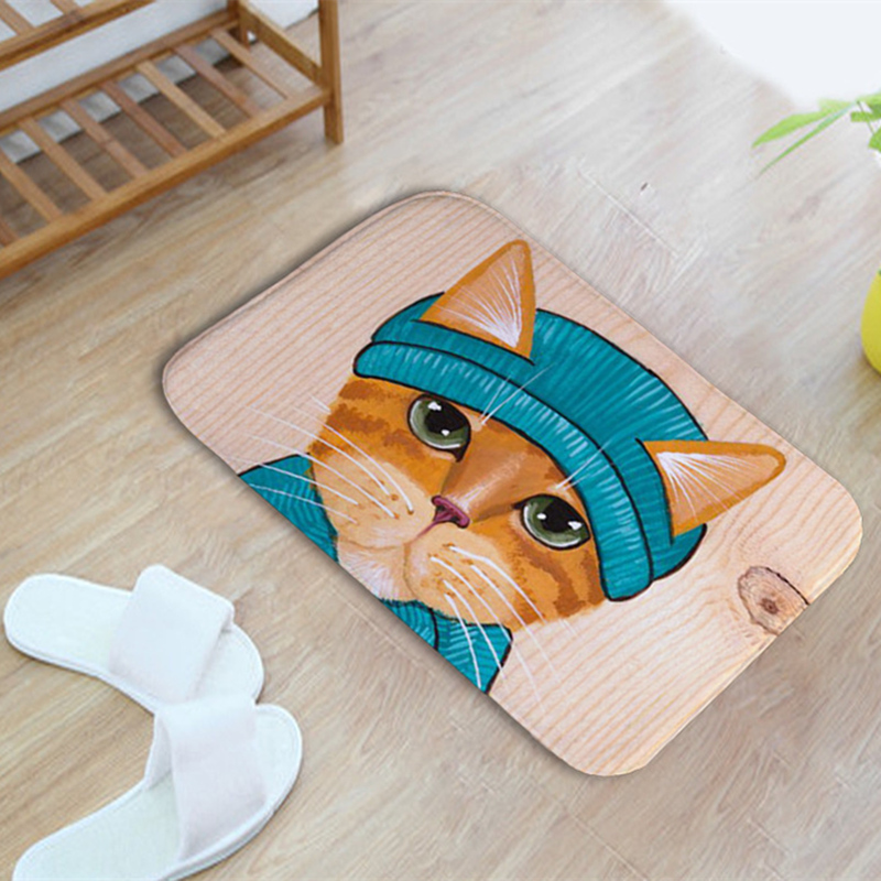 Excellent Cute Cat Printed Kitchen Toilet Bathroom Carpet Multi Color  Nonslip Bath Mat Water Absorbent Cat Wc Mat Floor Carpet Rugs With Multi  Colored ...