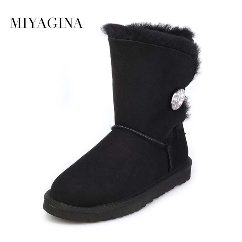 Free shipping High Quality Women's Genuine sheepskin leather Snow Boots 100% natural fur snow boots Warm Winter Boots