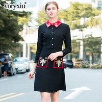 Svoryxiu Designer Winter Black Mini Dress Women's Long Sleeve Gold Line Embroiderye Bee Lady Party Dress Vestidos