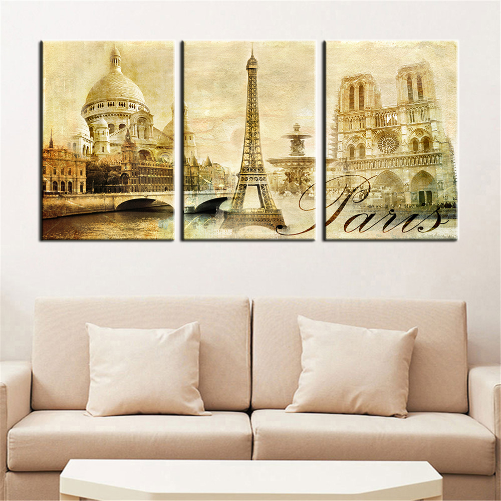 Wall Art Pictures Paris Famous Buildings Large Modern Home Wall Decor Abstract Canvas Print on Canvas Painting Unframed 3 Pieces-in Painting & ...