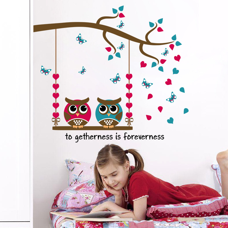 Decorate trees leaf owl bird buttlefly art wall sticker decoration Decals mural painting Removable Decor Wallpaper LF 1740 in Wall Stickers from Home Garden