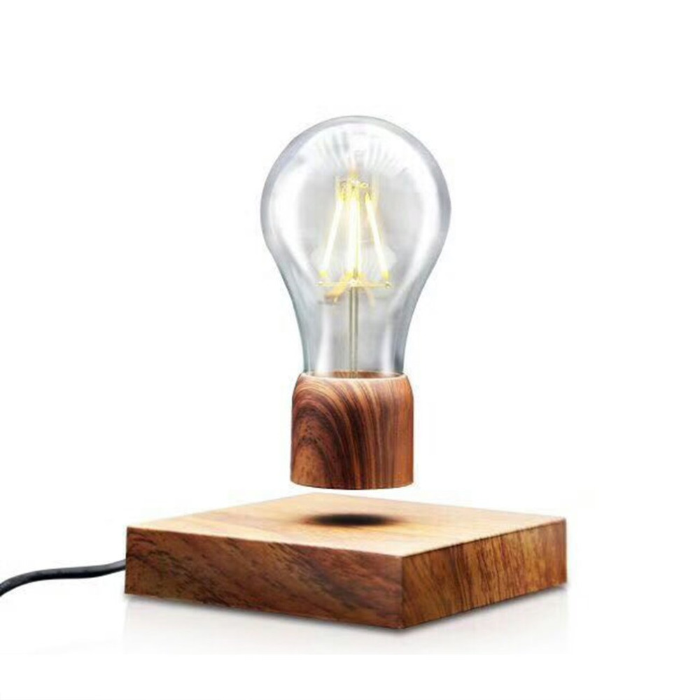 Magnética Flutuante Base CONDUZIU A Lâmpada Lâmpada de Iluminação Cor de Madeira do vintage de Decoração Para Casa Para Sala de estar Quarto lâmpada de Cabeceira